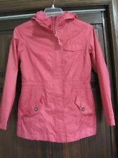 Lands End 10/12 girls windbreaker raincoat hood longer length pink spring jacket