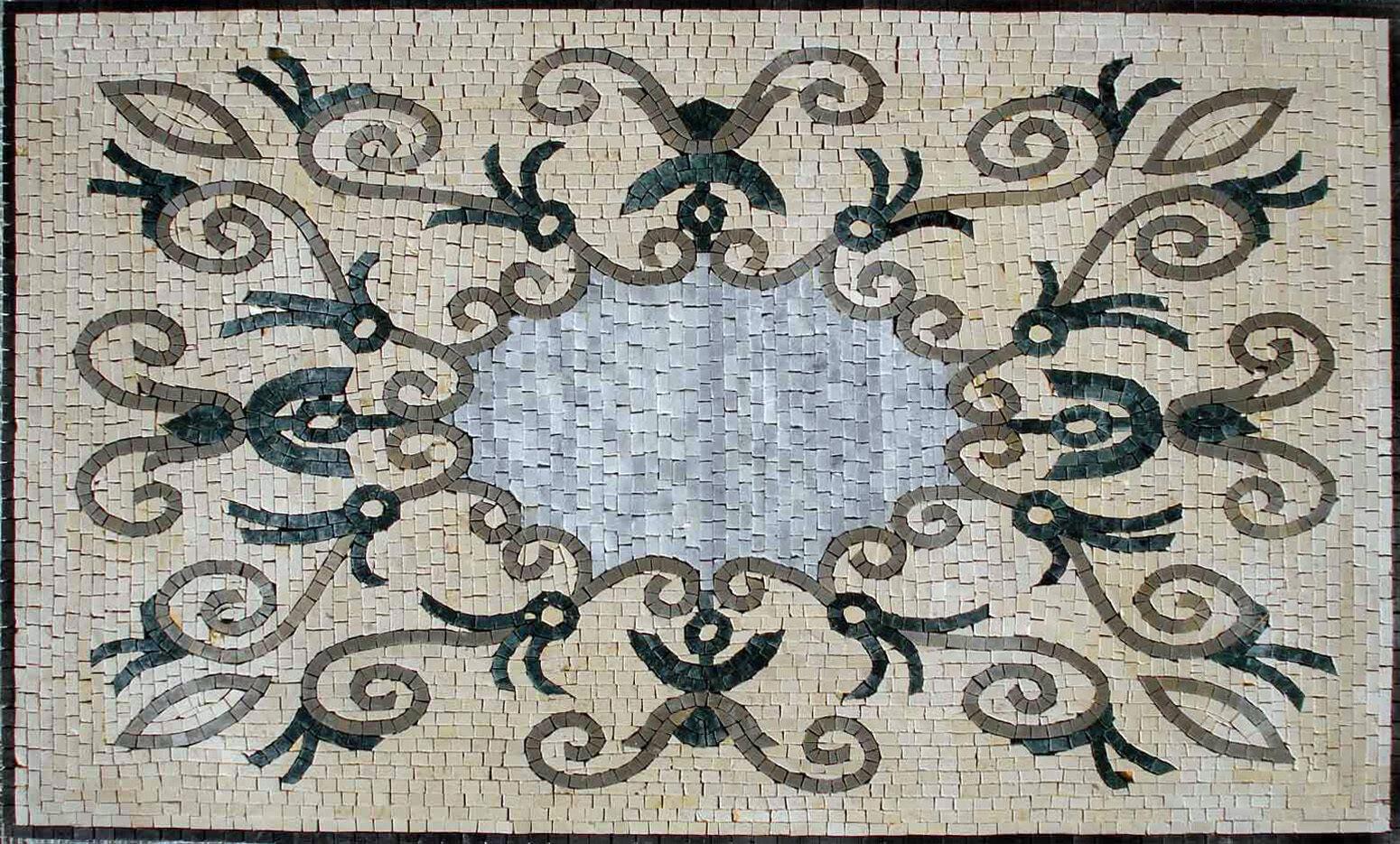 32 x 20  Geometrical Rug Handmade Floor Pattern Home Entrance Marble Mosaic Art