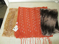 Lot Of 3 Womens Scarves, Varied Lengths & Colors,