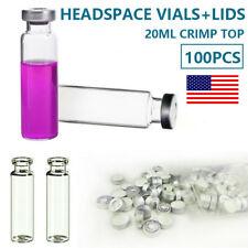 100pcs Lab 20ml Headspace Sample Vials Aluminium Caps Sets Ptfe Silicone Septa