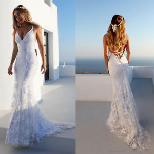 Details About Beach Wedding Dresses Mermaid V Neck Sheath Backless Straps Sleeveless Plus Size