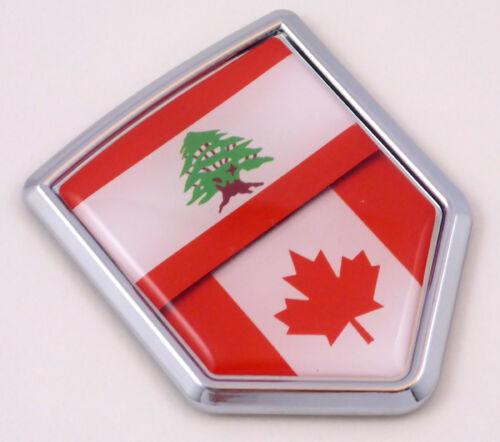 Lebanon Canada Lebanese Canadian split styl Flag Car Chrome Emblem Decal Sticker