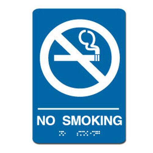 "No Smoking ADA Sign 6/"" x 9/"" White on Blue"