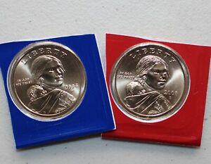 2008-P-Et-D-Sacagawea-Dollar-Bu-2-Satin-Pieces-De-Nous-Mint-Kit-Native-Americain