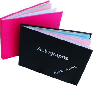 Personalised blank Autograph book Signatures Celebs Any name maximum ten letters