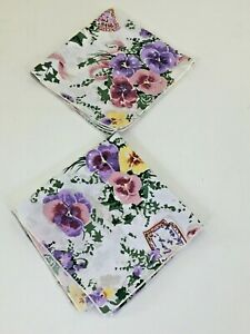 Vintage 17x17 5 Cloth Dinner Napkins Set Of 2 Floral Purple Pink Yellow Green Ebay