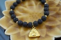 Anti Inflammatory Scent Therapy Bracelet Sage Gold Buddha Lava Stone Sz 6.5