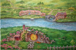 Shire Hobbit village. The Lord of the Rings. Oil canvas.impressionism tolkien