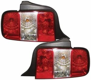 FORD-MUSTANG-05-10-CRYSTAL-RED-CLEAR-M3-STYLE-REAR-BACK-TAIL-LIGHTS