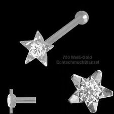 750 Weißgold Nasenpiercing Stern 3,2 mm mit Diamant  Nasenstecker Kugelstift