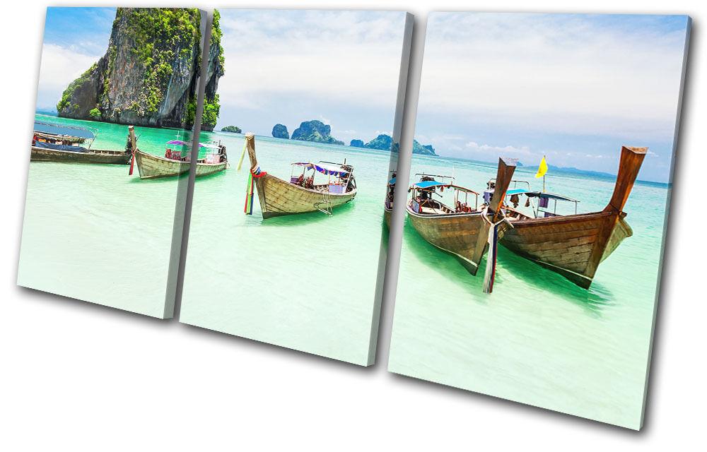 Beach Ocean Boat Sunset Seascape TREBLE Leinwand Wand Kunst Bild drucken