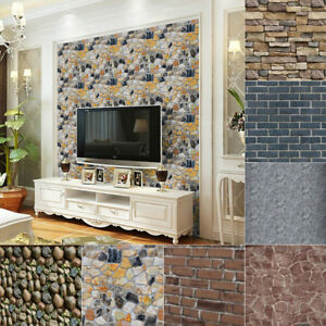 image is loading 2pcs fashion rock stone brick print pvc wallpaper