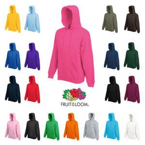 Fruit-of-the-Loom-HOODIE-Sweatshirt-Hoody-Jumper-Plain-Top-Sweater-Hooded
