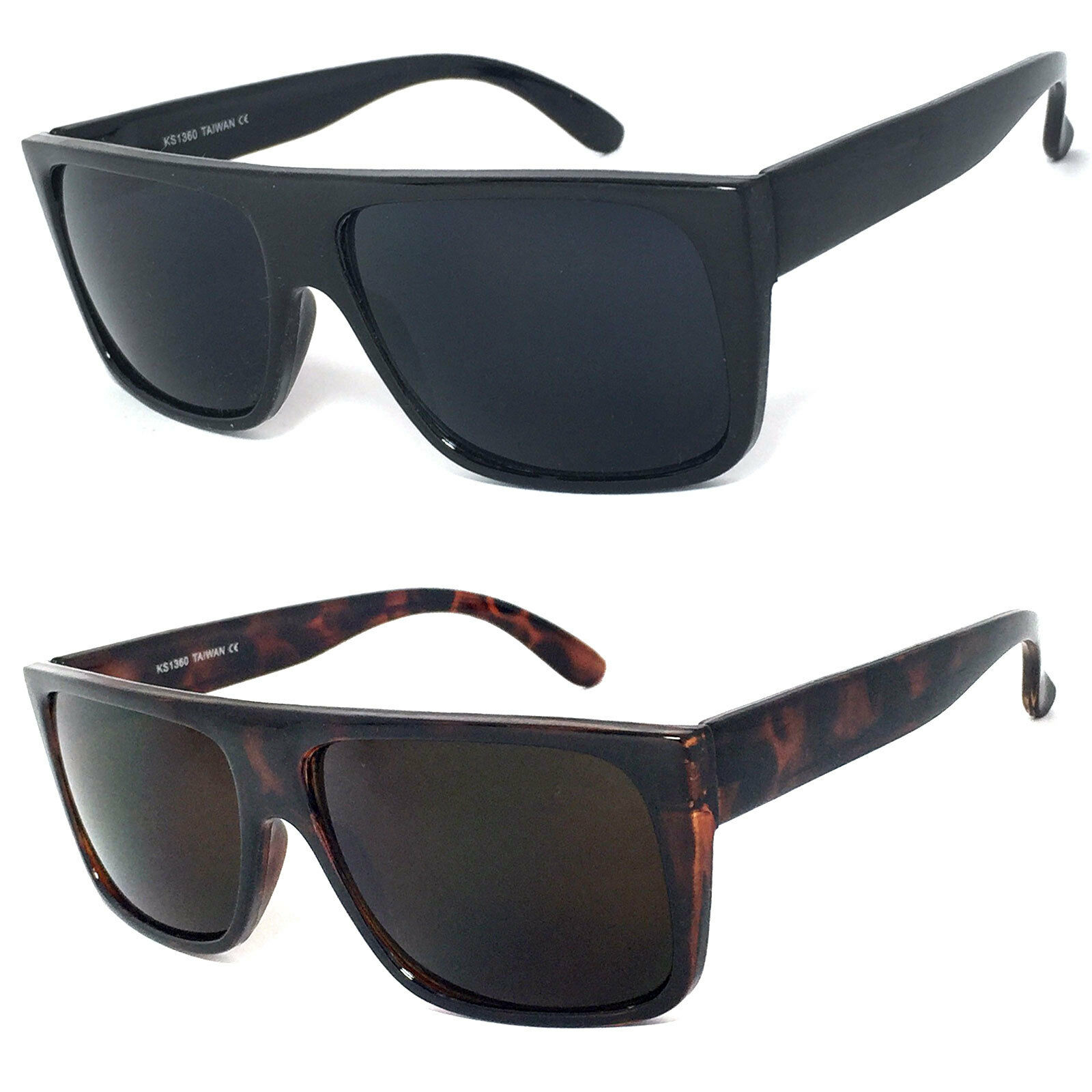 17906d44dc0 Details about Retro Square Frame Sunglasses Mens Womens Flat Top Square  Super Dark Lens