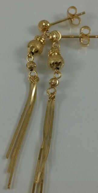 18K Solid Yellow Gold Long Drop Dangle Earrings Diamond Cut Women 2.94g