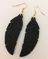 Black Leaf Shape Wood Dangle Earrings