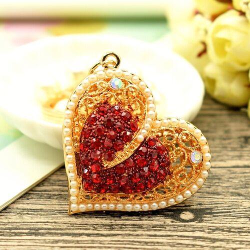Shiny Crystal Peach Heart Keyring Charm Pendant Purse Bag Key Ring Chain Pendant