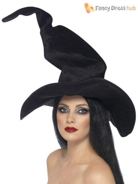 Ladies Large Black Witches Hat Tall & Twisty Velour Womens Fancy Dress Costume