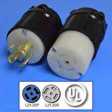 L21-20P and L21-20R Plug and Connector Set, 3-Phase, 20A, 120/208V