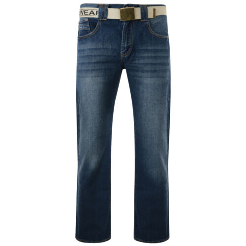 """Mens Quality Big Size KAM Forge Belted Jeans 42/""""-60/"""" Waist"""