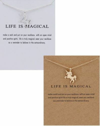 Life is magical Unicorn chain pendant with message card Gift UK