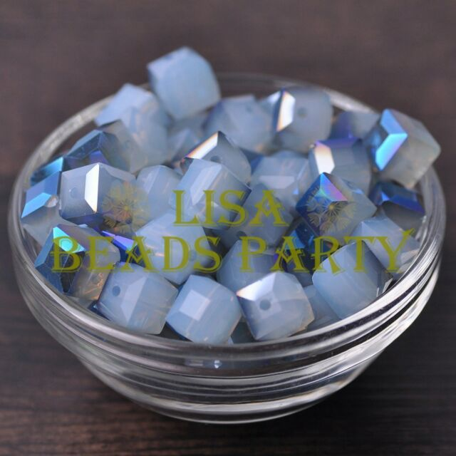 New 10pcs 10mm Cube Square Crystal Glass Loose Spacer Beads Opal Half Blue