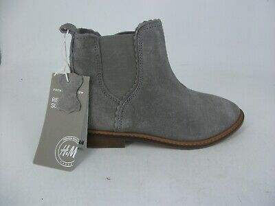 H\u0026M Girls Grey Suede Ankle Boots UK 11
