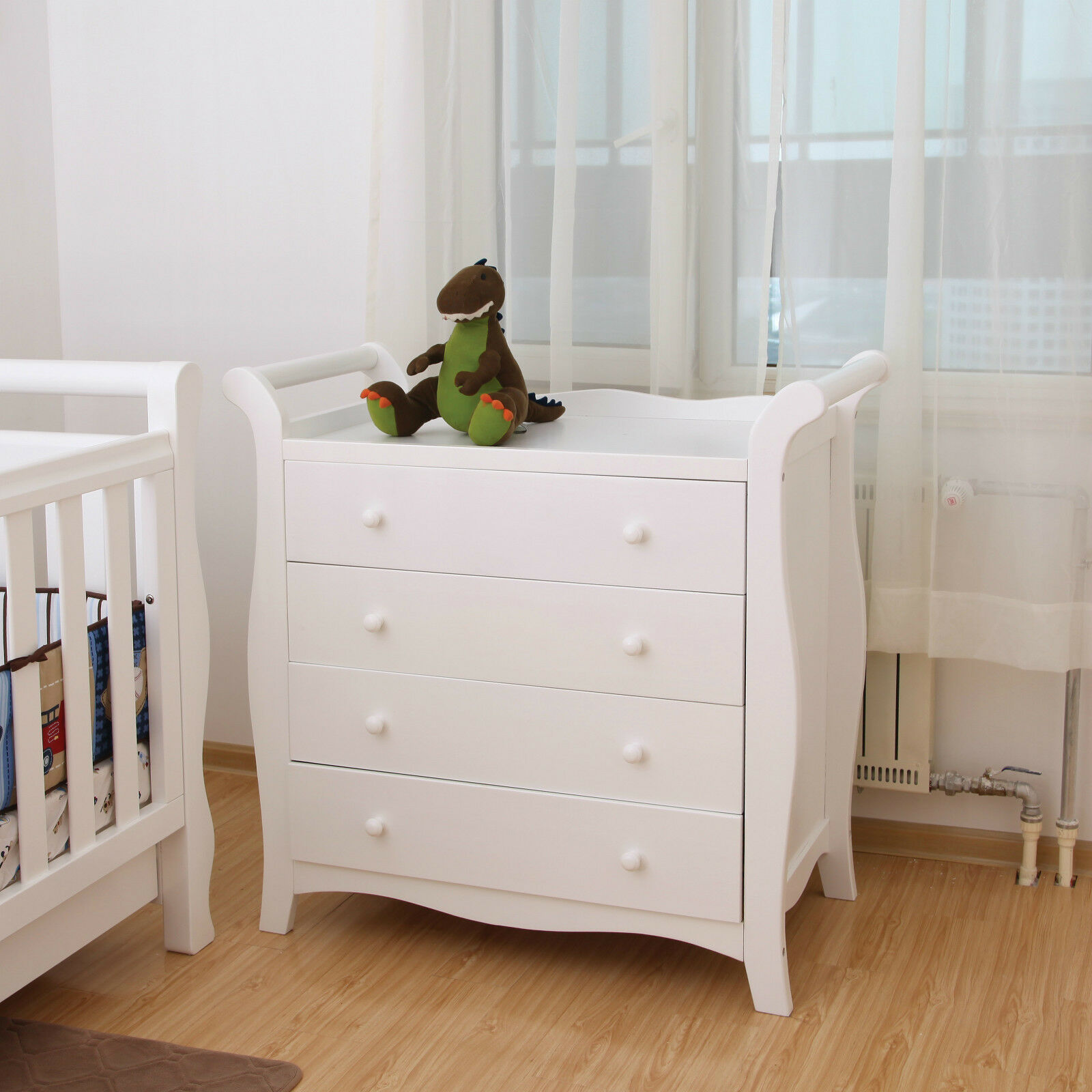 BNIB White New Zealand Pine Baby Change Table 4 Chest of Drawers