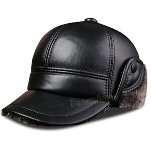 274c4ab591405 Mens Real Leather Winter Fur Lined Baseball Cap Warm Thick Ear Flap ...