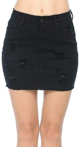 Details about  /Wax Women/'s Juniors Casual Distressed A-Line Denim Short Skirt