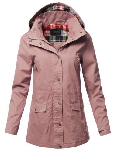 FashionOutfit Women/'s Casual Long Sleeve Plaid Detail Hooded Anorak Jacket