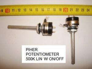 POTENCIOMETRO CARBON  PIHER POTENTIOMETER 500K LIN W ON/OFF -1A-250V. P1