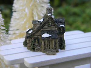 Miniature dollhouse fairy garden christmas tiny 1 snow village stone house ebay - The tiny house village a miniature settlement ...