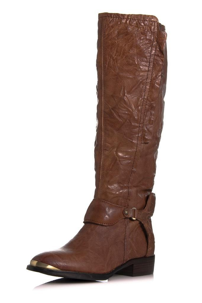 Sam Edelman Presley Boot Whiskey Whiskey Whiskey wrinkled Brown leather harness chocolate knee 4068e8