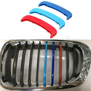 3x-Front-Grille-Kidney-Cover-Strips-Clip-For-BMW-3-Series-E46-Coupe-2Dr