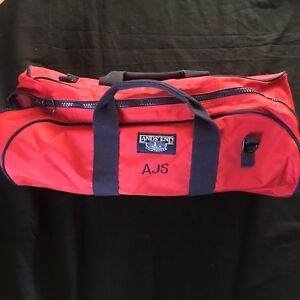 Lands-End-Hiking-Camping-Duffel-Bag-Red-Active-Large-Travel-Carry-On-Luggage-AJS