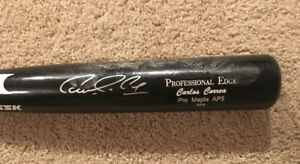 CARLOS CORREA 2016 Pro Edge Signed Autographed Game Used Bat Beckett BAS A17237