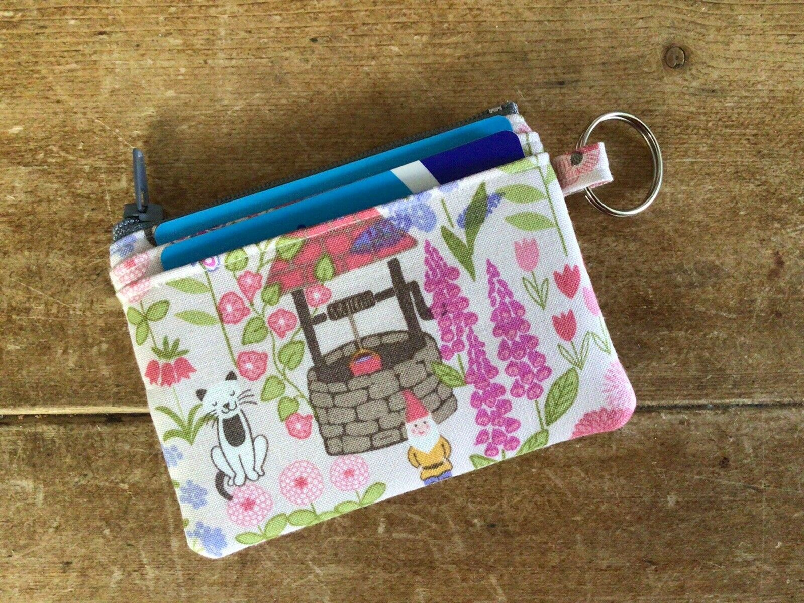 Handmade Credit Card Case Wallet Coin Purse Key Ring Gnome Floral Fabric