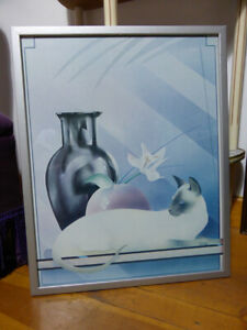 Vintage-SIAMESE-CAT-PICTURE-1980s-Retro-Athena-style-silver-framed-kitsch-art
