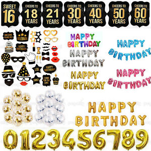 Happy Birthday Bunting Banner Balloons 16//18//21st//30~60th Photo Booth Props Mask
