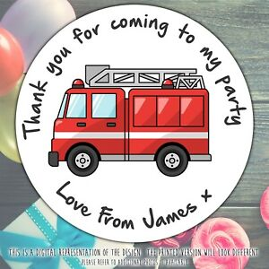 Personalised-Fire-Engine-Birthday-Party-round-stickers-labels-party-cone-sheet