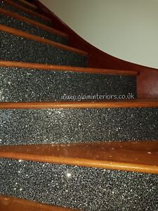 Black Silver Stairs Fabric Glitter Wallpaper Border Ebay