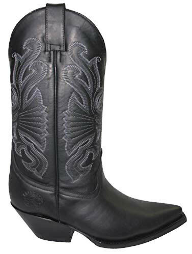 Grinders Buffalo Black Mens Ladies Cowboy Western Slip On Pointed Leather Boots