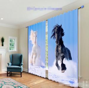 Cortina De Foto 3D caballos ejecutar Blockout Impresión Cortinas De Tela Cortinas Ventana au