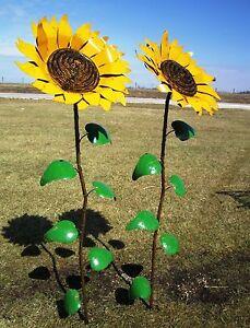 Gentil Image Is Loading Recycled Metal Sunflower Garden Stake Yard Decor Flowering