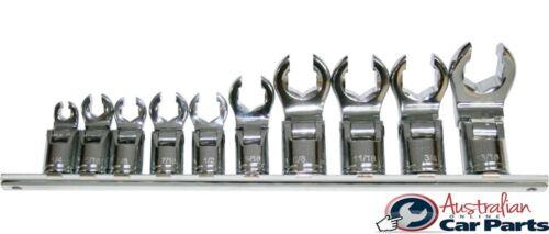 "3//8/""Drive 6 Point Flex-Head Flare Nut Sockets 10 peice SAE set T/&E Tools CM620A"