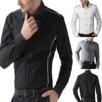 NEW Arrival Black/White Mens Slim Fit Casual Button Down Dress Top Shirt In S~XL