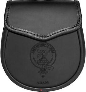 Adam Cuir Day Sporran écossais Clan Crest-afficher Le Titre D'origine Prix RéDuctions