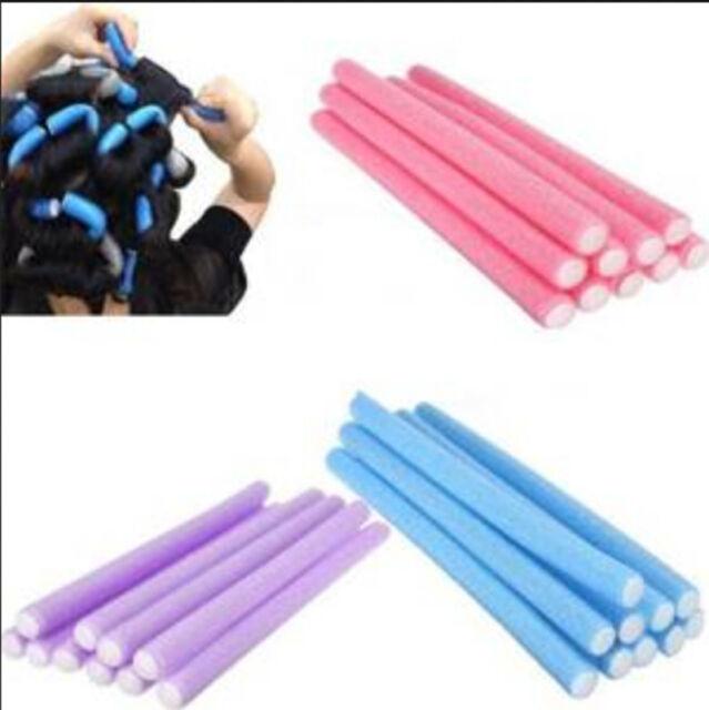 10xCurler Makers Soft Foam Bendy Twist Curls Tool Helper Styling Hair Rollers LY