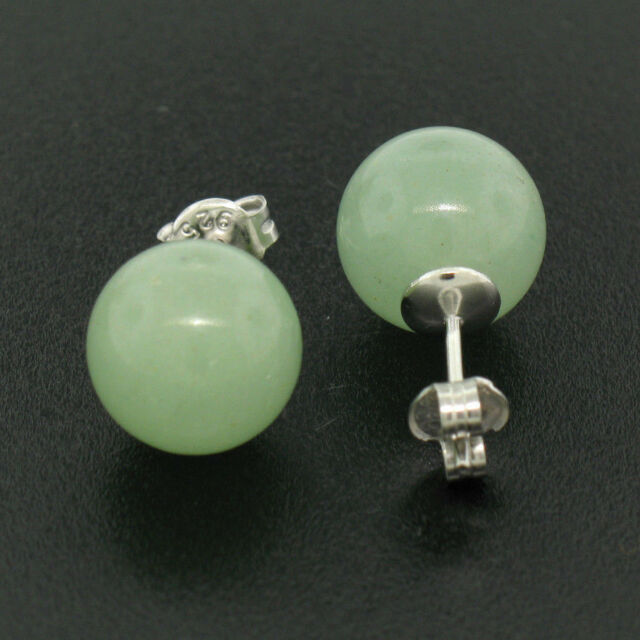 New Sterling Silver 10mm Green Jade Ball Stud Earrings Clic Simple Elegant